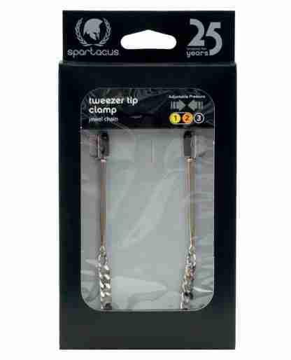 Spartacus Adjustable Tweezer Nipple Clamps w/Jewel Chain