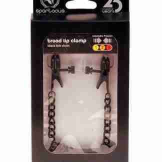 Spartacus Blackline Broad Tip Adjustable Nipple Clamps w/Chain - Black