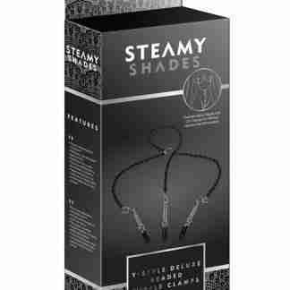 Steamy Shades Y-Style Deluxe Beaded Nipple Clamps - Black/Silver